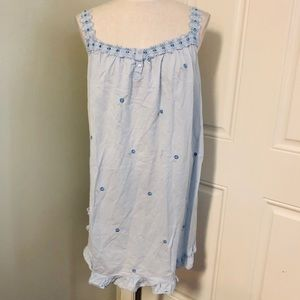 Blue eyelet floral embroidered nightgown nightie